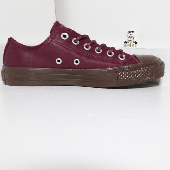 Converse Dark Burgundy Leather All Star Low Tops 0ec164235